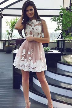 champagne homecoming dresses, short fashion dresses, blush party dresses with appliques