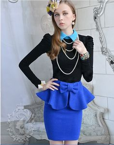 $16.22Stylish Turn-down Collar Puff Long Sleeves Slim T-shirt Blue i3966602