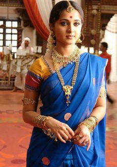 Blue Saree Anushka
