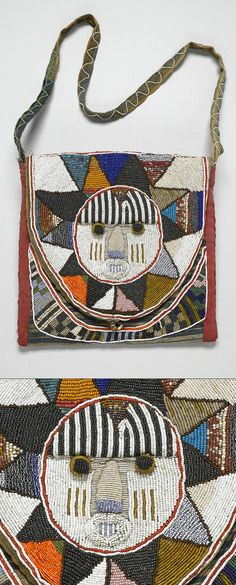 Africa | Diviner's bag ~ apo ifa ~ from the Yoruba people of Nigeria | Glass beads, cotton; bead embroidery (couching)