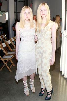 Dakota and Elle Fanning, Rodarte outfits at the Rodarte spring 2012 show