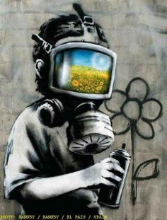 """Bansky. Saw something like this at a museum. Part of the explanation for it said """"if you see someone wearing a gas mask, you know something bad is going on, but you also have hope and know that they are going to be ok"""". I think that is amazing"""