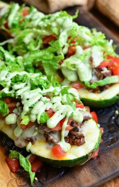 Taco Stuffed Zucchini Boats from willcookforsmiles.com #light #dinner #beef