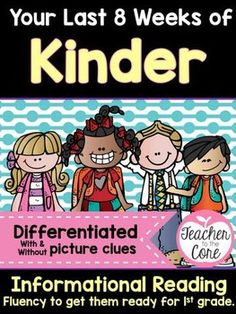 You have 8 weeks left! This fluency and writing unit will get your kinder students reading and writing like first graders! This unit has lesson plans to help you along the way. I have provided high quality vocabulary photographs for each passage. These can be used as visual aides in a pocket chart or as vocabulary instruction. PLUS this unit is differentiated for your low and high readers! $