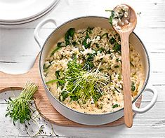 Frühlings-Risotto Risotto Dishes, Ramen, Grains, Healthy Eating, Ethnic Recipes, Food, Healthy Eats, Rice, Chef Recipes
