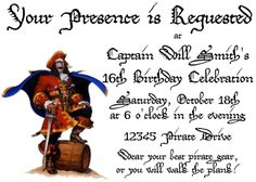 Pirate Birthday Party Invitations Free