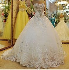 Wedding Dress Strapless Organza Crystal Long Train Lace-up White