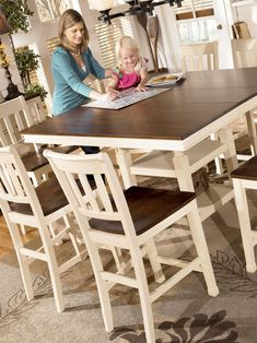 Repaint our Pub table and chairs to look like this. Kind of like a farmhouse table! Pub Table And Chairs, Pub Table Sets, Dining Room Table, Bar Tables, High Chairs, Kitchen Chairs, High Dining Table Set, Tall Table, Kitchen Seating