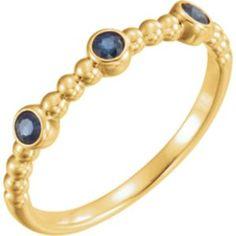 14K #Yellow #BlueSapphire Beaded #Ring  Item #: 71929:601:P