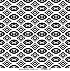 Vector monochrome seamless pattern, black & white geometric ornamental texture. Simple endless abstract mosaic background. Design element for prints, decoration, textile, stationery, digital, web