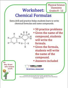 Naming Compounds and Writing Formulas Worksheet ($)