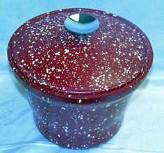 Vintage Splatterware RED & White Ice Bucket