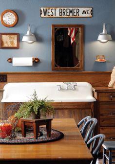 Love this! cabinets, editorial, vintag farmhous, farmhous dri, gardens, farmhouse style, farmhous style, wood cabinet, dri sink