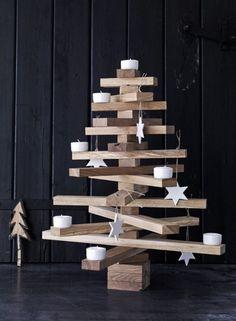 alternatieve kerstboom van hout
