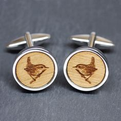 Hey, I found this really awesome Etsy listing at https://www.etsy.com/listing/168970004/wooden-wren-bird-cufflinks