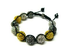 Three Tone Black & Silver & Yellow Shamballa 12mm Glass Beaded Macrame Bracelet Fully Iced Out with 11 Disco Balls JOTW. $9.95. Unique adjustable pull string cobra stitched lanyard design.. Great Quality Jewelry!. 100% Satisfaction Guarunteed!