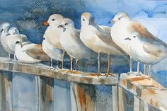Birds of a Feather Sea Gulls Watercolor by Marybeth Cunningham