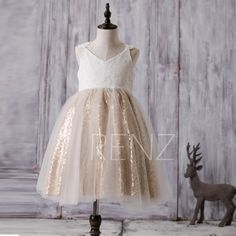 2017 Off White Junior Bridesmaid Dress Short, Golden Sequin Flower Girl Dress, A Line Lace Baby Tutu Dress, V Neck Cocktail Dress (FK291)