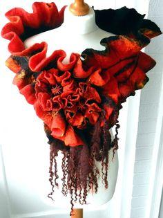 felted woman ART scarf  ,shawl-FLAME-