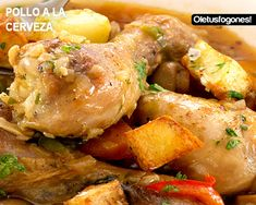 Chicken in beer sauce Turkey Recipes, Mexican Food Recipes, Chicken Recipes, Ethnic Recipes, Yummy Snacks, Yummy Food, Pollo Chicken, Cooking Recipes, Healthy Recipes