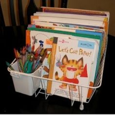 I used dish racks in my classroom for puzzles, file folder activities, etc. -Dish rack for coloring books and crayons Book Organization, Classroom Organization, Organizing Books, Organizing School, Organizing Crayons, Organising, Classroom Supplies, Art Classroom, School Supplies