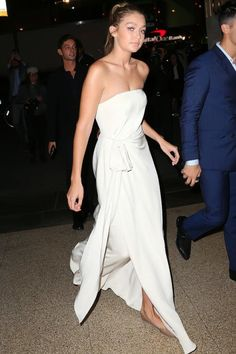 Gigi Hadid wearing Chloe Lauren Scallop Flats in Nude