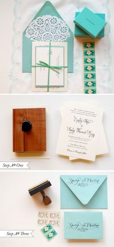 DIY - Wedding invitation Step-by-Step tutorial inspired by the signature blue color of Tiffany & Co.