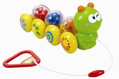 Wormin' Along :   This fun wiggly pal keeps kids engaged and motorin'. When pulled along, the 3 marble balls on his back roll and the colored patterns on his wheels spin. Remove & shake the marble balls to hear a rattle sound and rotate his head for a clicking sound.