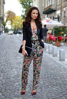 Floral Jumpsuit with Black Blazer