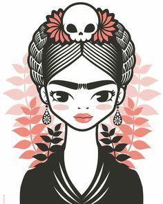 Illustrations, Illustration Art, Frida Kahlo Portraits, Kahlo Paintings, Frida Art, Folk Embroidery, Mexican Folk Art, Cross Stitch Patterns, Art Drawings