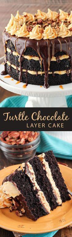 Turtle Chocolate Layer Cake! Layers of moist chocolate cake, caramel icing, chocolate ganache and pecans! So good! #yummycakes