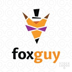 Simple and a bit funny logo features a stylish fox that looks like a man wearing glasses and a top hat. Related keywords: fox, animal, smart, clever, mascot, face, orange, wild, fun, creative, design. Buy fox logo.