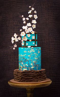 Bellaria Cakes Design by Riany Clement Orientalist flower wedding cake blue