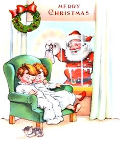 vintage retro Christmas two children in white pajamas sleeping in chair, Santa at window peeking in, kitty cat, MCM