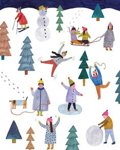 winter illustration of playing in the snow