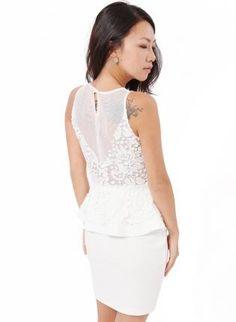 White Cocktail Dress - White Sleeveless Peplum Dress
