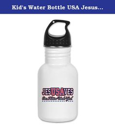 Kid's Water Bottle USA Jesus Saves Nation Under God. Product Number: 0001-1610559696 Perfect for school lunches or soccer games, our kid's stainless steel water bottle quenches children's thirst for individuality. Personalized for what kids love, it's both eco-friendly and compact. Made of 18/8, food-grade stainless steel. * No lining & no BPA or other toxins * Wide mouth for easy drinking * Durable, BPA-free & phalate-free screw-on top * Holds 0.35L (nearly 12 ounces) * Thin profile to…