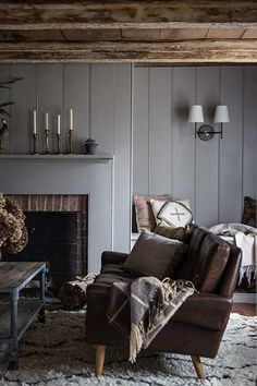 Cozy with gray shiplap walls and a mid-century leather sofa | Jersey Ice Cream Co.