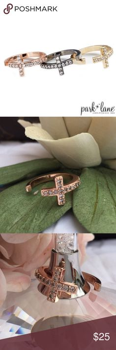 PARK LANE NOW & FOREVER Ring. PARK LANE NOW & FOREVER Ring. Shimmering, channel-set Cubic Zirconia outline the cross of Now & Forever ring. Wear stacked or separately. In rose gold. Size:  6 H O S T  P I C K!  WeEkEnD WaRdRoBe 07/17/2016 Park Lane Jewelry Rings