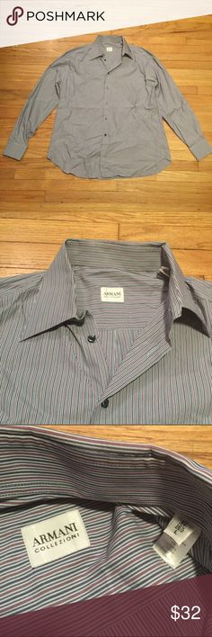 Armani mens striped l/s dress shirt - 16.5 Armani mens striped l/s dress shirt - 16.5/Large. Armpit to armpit - 25 inches. Length - 30 inches. Excellent condition. Armani Collezioni Shirts Dress Shirts