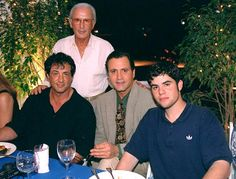 Three generations of Stallone's; Frank Stallone, Sr. (standing), Sylvester Stallone (L), Frank Stallone, Jr. (center), Sage Stallone (R).