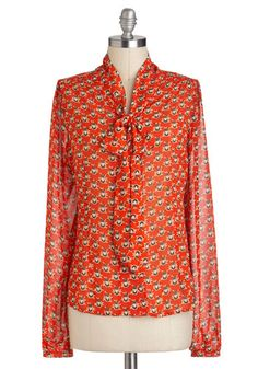 Owl That and More Top - Red, Orange, Print, Casual, Long Sleeve, Tie Neck, Mid-length, Work, Owls