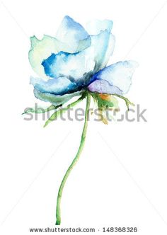 Decorative blue flower, watercolor illustration  - stock photo