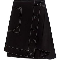 Derek Lam 10 Crosby - A-Line Poplin Combo Mini Skirt ($325) ❤ liked on Polyvore featuring skirts, mini skirts, short skirts, short a line skirt, short mini skirts, asymmetrical mini skirt and panel skirt