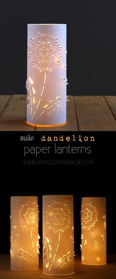 Make these stunning Dandelion paper lanterns with up-cycled plastic bottles and paper! Free printable download in this easy and fun paper craft tutorial!