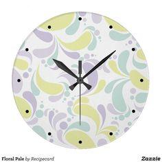 Floral Pale Large Clock