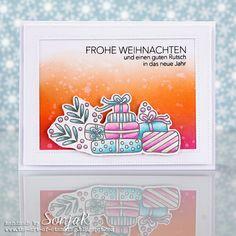 "Weihnachtskarte | Christmas card - Avery Elle ""Christmas Packages"", ""Double Pierced Rectangles"", danipeuss/Klartext ""Fröhliche Weihnachtszeit"", Polychromos, Distress Inks"