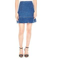 Sandro Glenn Flutter-Hem Tweed Skirt (3.860.950 IDR) ❤ liked on Polyvore featuring skirts, azure blue, flouncy skirt, white frilly skirt, flounce skirt, white knee length skirt and frilled skirt