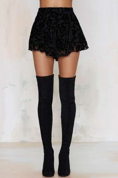 Black Floral High Ground Velvet Shorts and Stiù Eclisse Over-the-Knee Suede Boots | nastygal.com