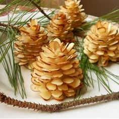 Chocolate almond pinecones (I like this way before the chocolate is on. This is more rustic.)